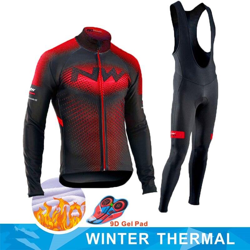 2020 Pro Team Winter Thermal Fleece Cycling Clothes Men Long Sleeve Jersey Suit Outdoor Riding Bike MTB Clothing Bib Pants Set